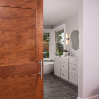 Standard Raised Master Bathroom Barn Door